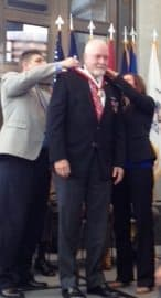Mr. Dan Bare receiving a medal during the Ohio Military Hall of Fame Ceremony.
