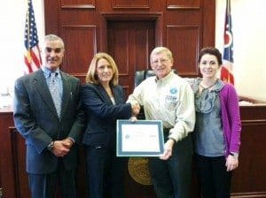 Pictured from left to right: Clermont County Judge Victor Haddad, Clermont County Probation Director Julie Frey, Ohio Area Chair Mike Emerine, and Clermont County Probation Officer Jessica Lampe.