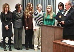 Photographed above from left to right: Theresa Singleton, Debbie Brooks, Julie Pedersen, Linda Cornwell, Katy Collura, Kate Lawson with the YWCA of Greater Cincinnati Eastern Area and Commissioner Humphrey.