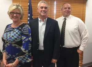 Rep. Brad Wenstrup, center, with Opiate Task Force co-chairs Lee Ann Watson of MHRB and Union Township Police Chief Scott Gaviglia.