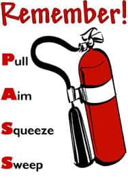 Remember PASS when using a fire extinguisher!